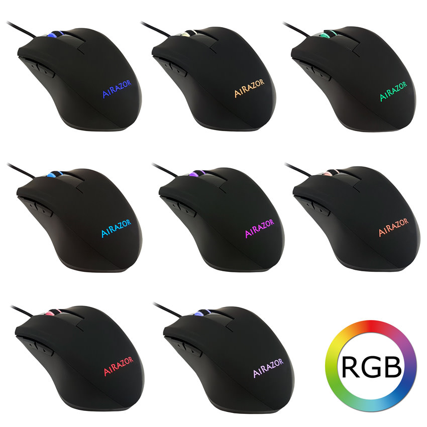 Optical RGB USB mouse m810RGB colour examples