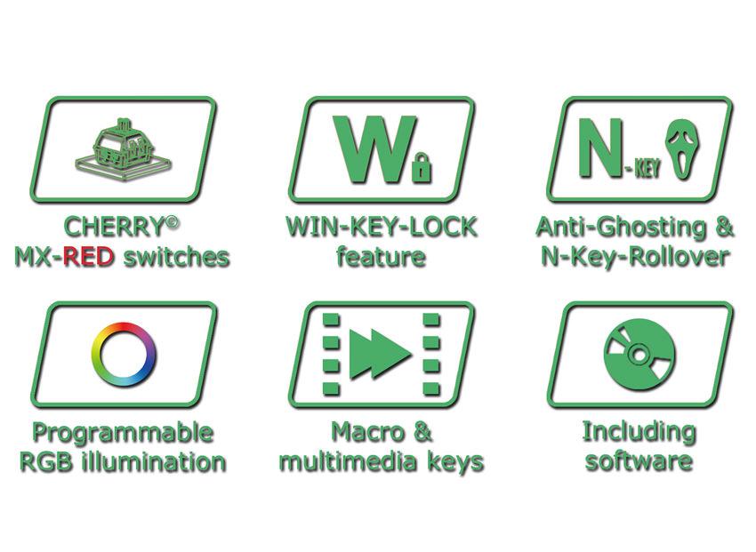 mechanical RGB keyboard LC-KEY-MECH-1-RGB logos